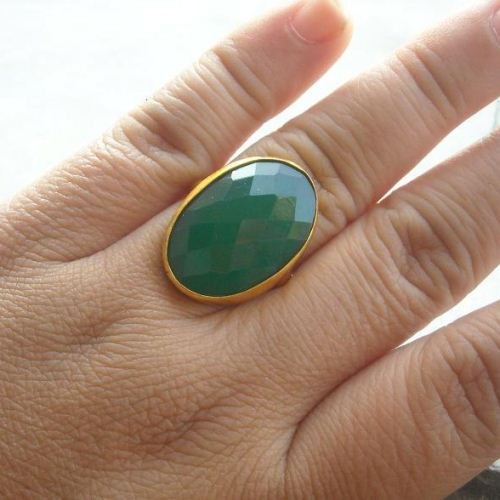 Buy Emerald Green Ring Gemstone Ring Vermeil Gold Ring