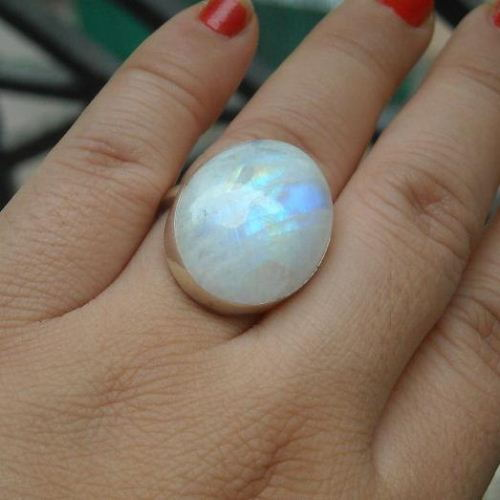 Buy Large oval rainbow moonstone ring, Artisan sterling ...