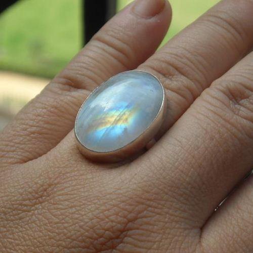Buy Rainbow moonstone ring, Large oval moonstone sterling ...