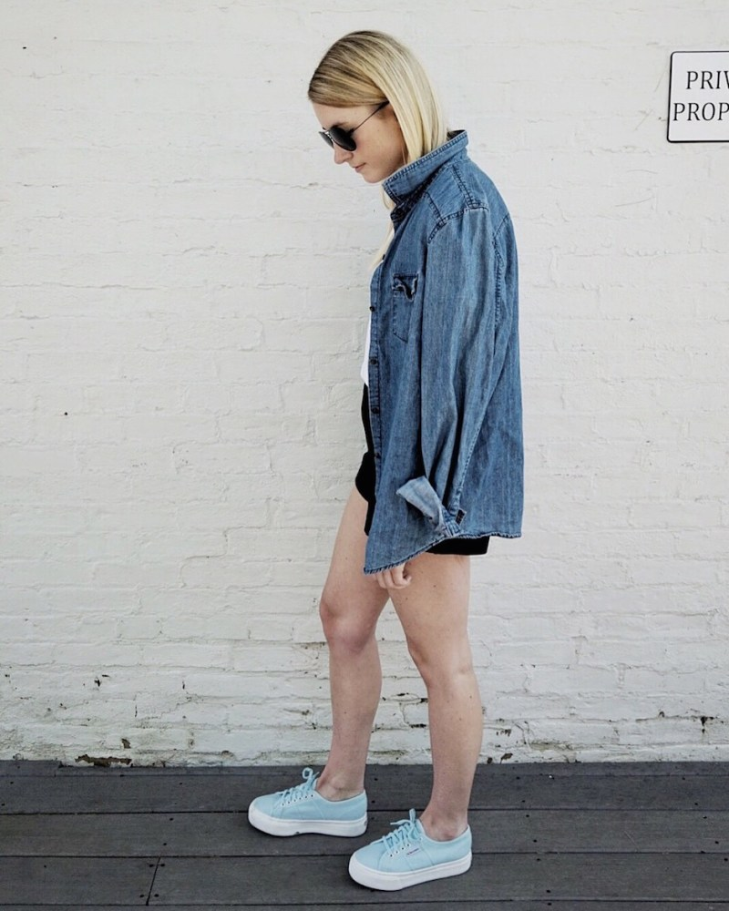 blue denim clothing