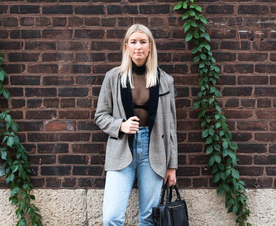 Menswear Inspired Plaid Blazer