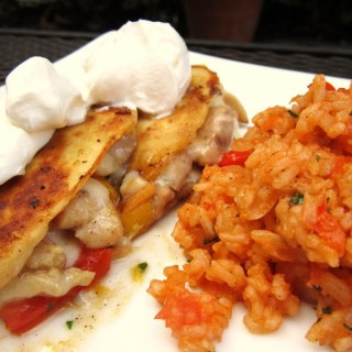 Chicken Quesadillas and Mexican Rice
