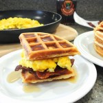 Bacon, Cheesy Eggs and Waffle Sandwich