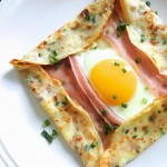 Ham, Cheese and Fried Egg Crepes