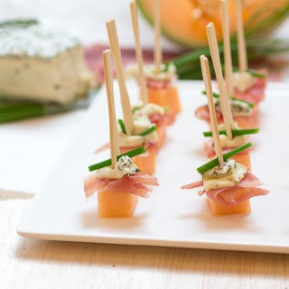 Herbed Brie, Prosciutto and Melon Bites