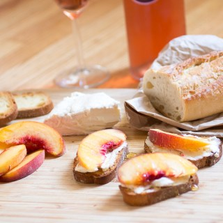 Brillat Savarin and Peaches Crostini