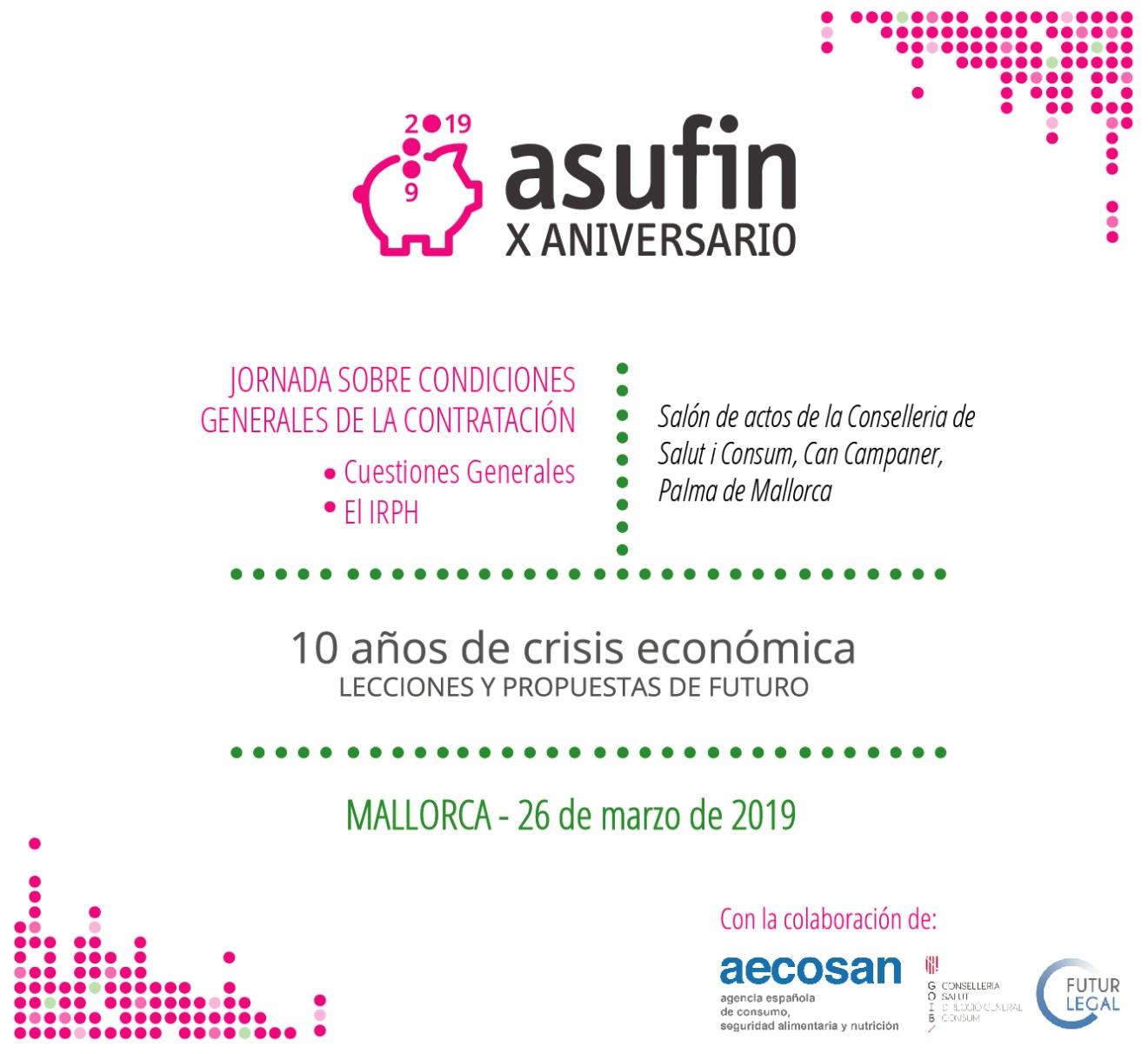 ASUFIN Baleares: Jornadas sobre condiciones generales de la contratación, IRPH y cláusulas abusivas