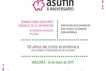 ASUFIN Baleares: Jornadas sobre IRPH y cláusulas abusivas con los jueces de los juzgados especializados como ponentes