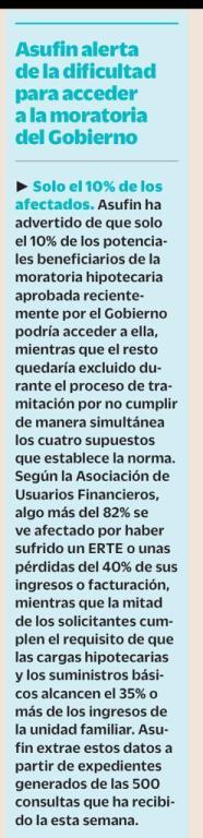 07.04.2020 - CINCO DÍAS - ASUFIN ALERTA DE LA DIFICULTAD PARA ACCEDER A LA MORATORIA DEL GOBIERNO