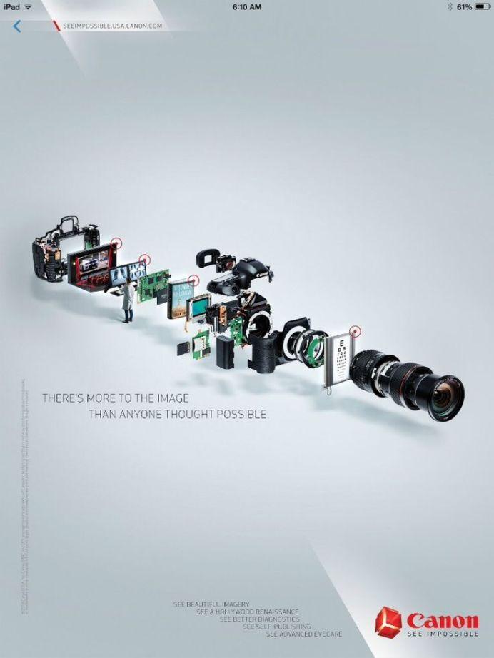 anuncio canon, piezas