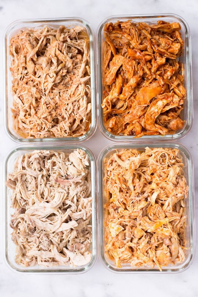 Slow Cooker Shredded Chicken Meal Prep | How to make shredded chicken and 4 shredded chicken recipes | A Sweet Pea Chef