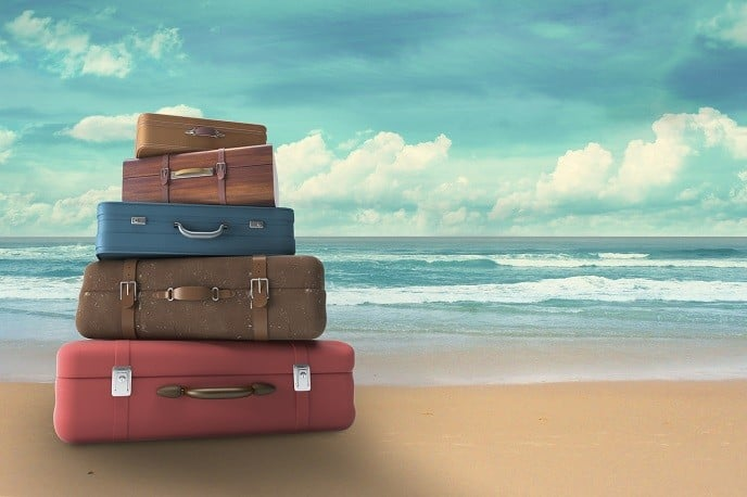 Luggage Sets, bags on beach, travel concept
