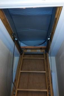 attic tent, attic staircase