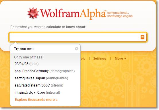 Wolfram Alpha Suchmaske