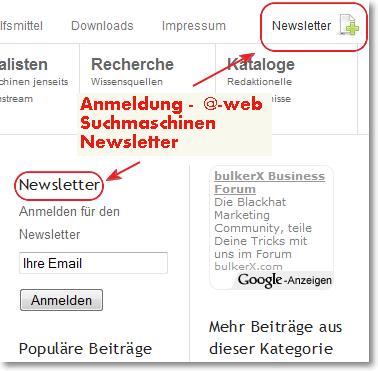 Anmeldung @-web Suchmaschinen Newsletter