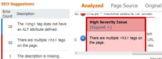 SEO Empfehlungen Bing Webmaster Tools