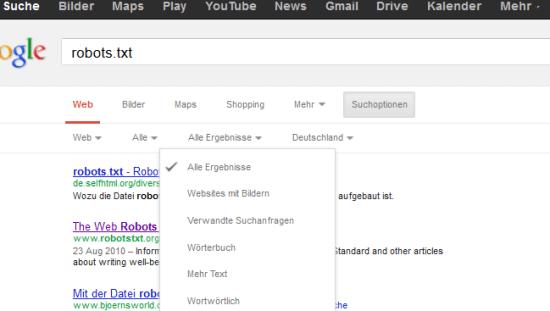 Ergebnisoptionen der Google Suche