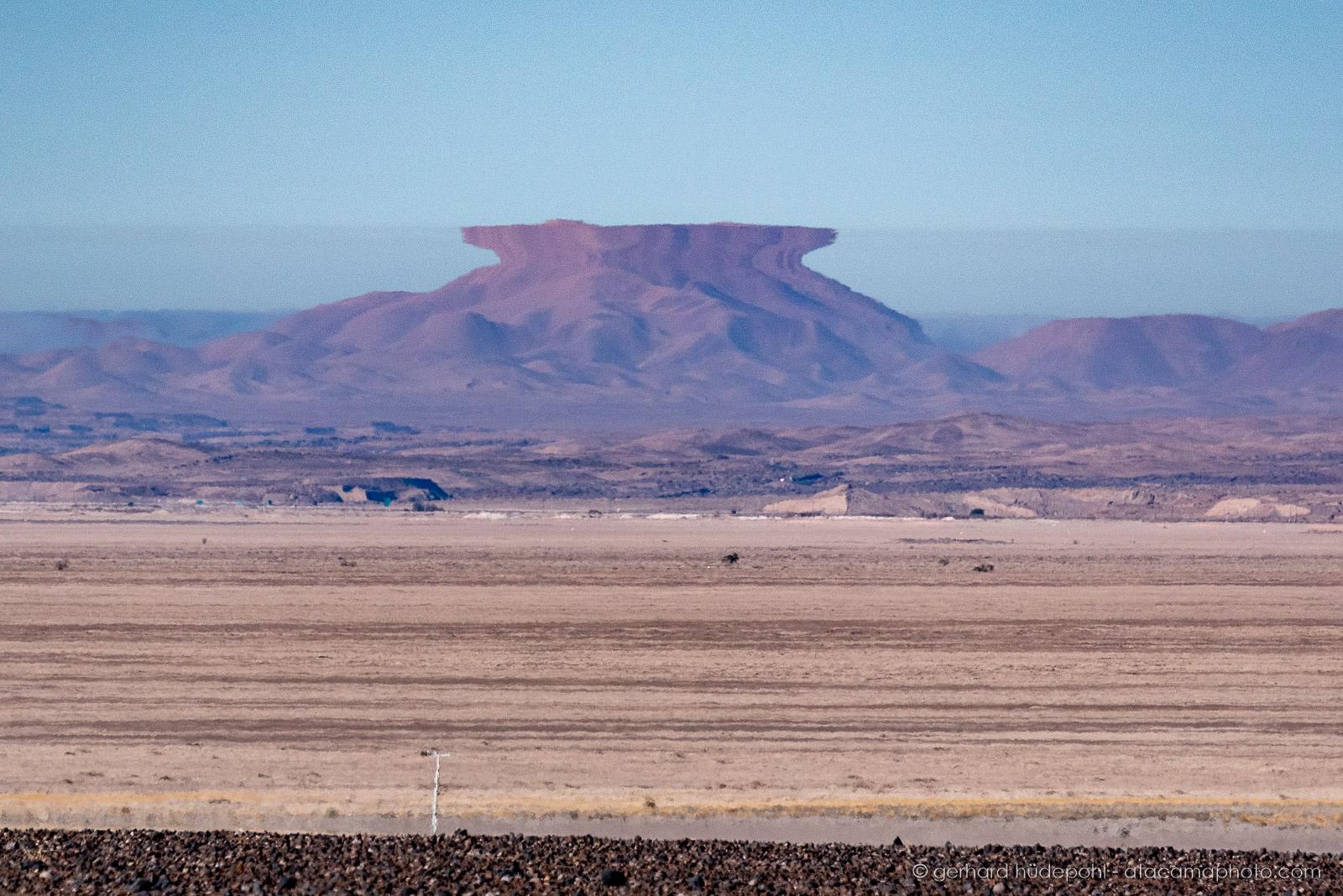 A rare superior mirage, an optical atmospheric effect, Atacama desert Chile