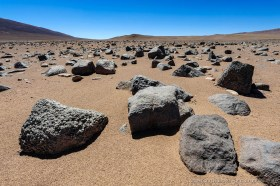 Rock boulders in the hyper arid Atacama Desert near Antofagasta, Chile