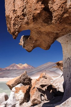 Bizarre wind eroded rock formations at Salar de Aguas Calientes, Altiplano of Chile