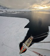 """View from the mast of yacht """"Spirit of Sydney"""" over the bay of Port Lockroy"""