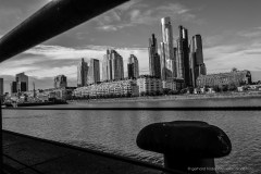 Skyline of Puerto Madero in Buenos Aires, black and white photo.