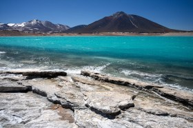 Amazing torqoise colors of Laguna Verde at Paso San Francisco, Chile