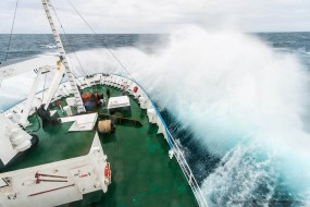 Expedition cruise ship Professor Multanovskiy in heavy seas during Drake Passage crossing