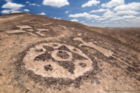 Ancient desert art: geoglyphs of Chug-Chug in the desert near Calama