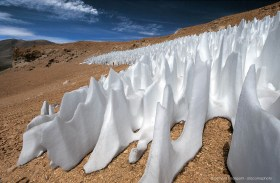 Snow penitents in the Andes of Chile with more than 3 meters height