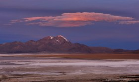 Salar de Surire just after sunset, Altiplano of Chile