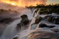 Dramatic sunrise at the Iguazu waterfalls, Argentina