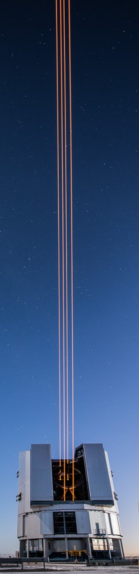 Four powerful lasers are launched to the sky above the Paranal Observatory in Chile