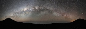 Milky Way stretching from the VLT on Paranal to the VISTA telescope