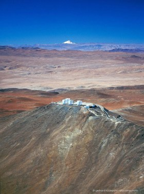 VLT Paranal observatory aerial photo with Llullaillaco volcano in the background