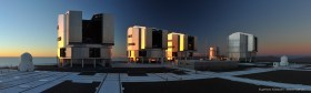 Panorama of the four ESO VLT telescopes at sunset on Cerro Paranal, Chile