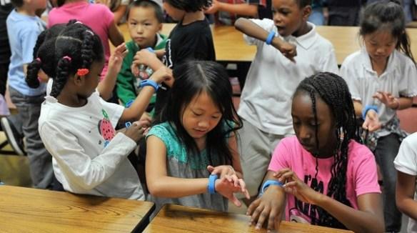 Children using wearable technologies