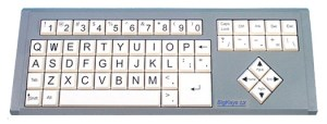 Bigkeys keyboard with black text on white keys