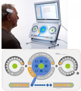 top picture showing a man using the LOMAK keyboard with a laptop computer. bottom picture shows the layout of the LOMAK keyboard. Three rings, large centre ring for letters, right ring numbers, left ring symbols