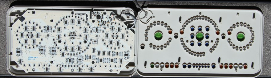 The LOMAK keyboard opened out to reveal the photo-resistors and the circuit board.
