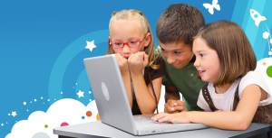 3 young children in front of laptop computer
