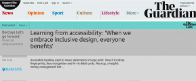 Site preview of Barclays Bank Accessible Banking feature article