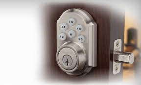 Kwikset's SmartCode electronic lock on a door