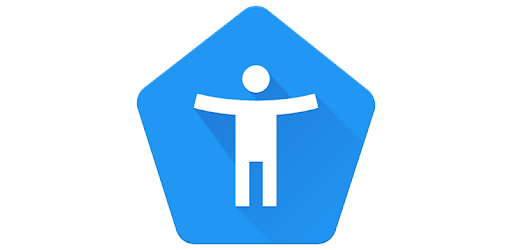 Android Accessibility Icon: Blue pentagon with white human figure with hands out