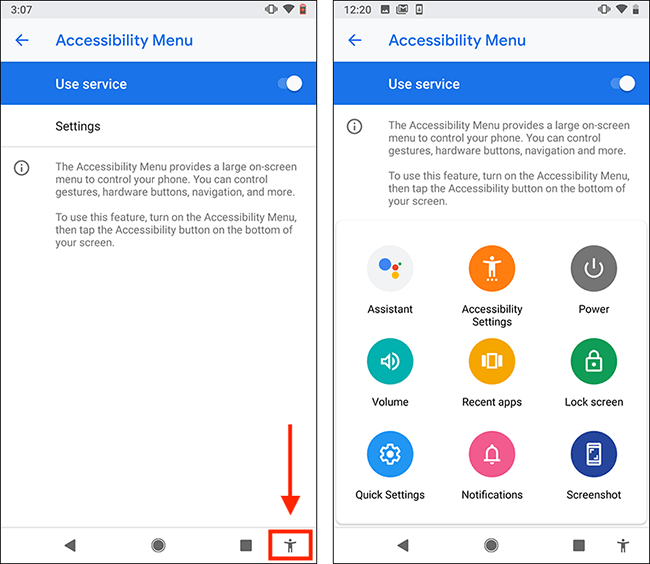 Android OS Accessibility Suite Assistant Menu. An onscreen menu with large colourful buttons for features like, power, lock screen, volume