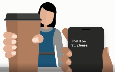 A cartoon figure of person holding a takeaway cup with a phone app transcribing the speech of that person.