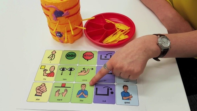A person pointing at a symbol AAC chart