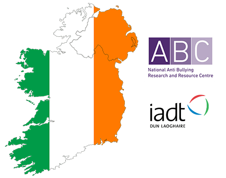 Map of Ireland with national anti bullying research center logo and iadt logo