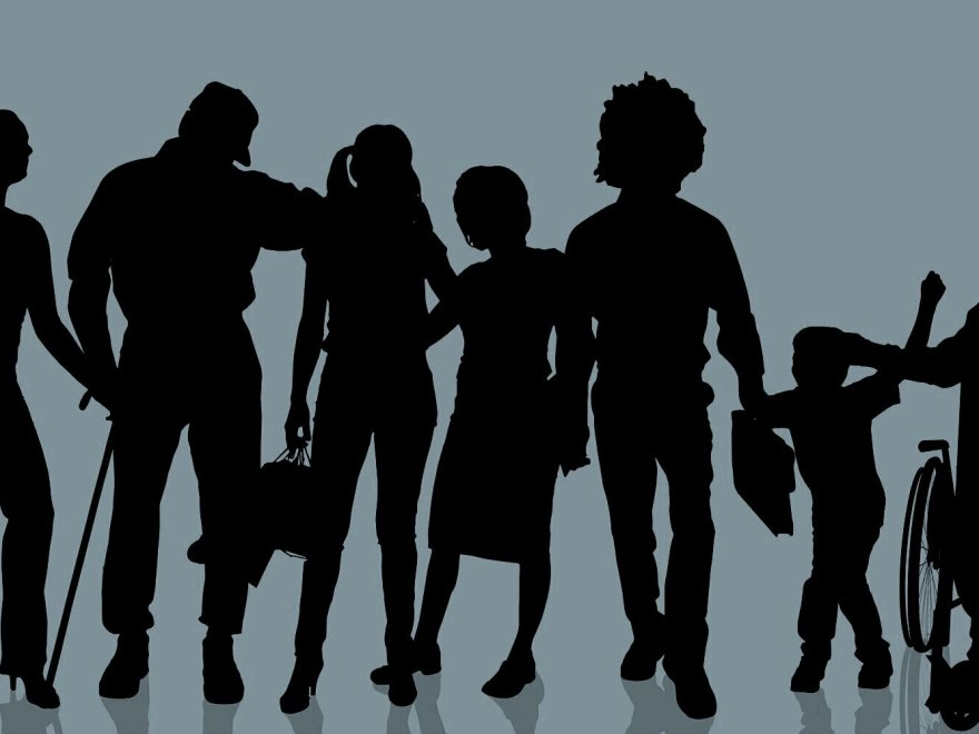 Silhouette image of people of all abilities together