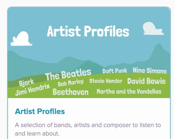 screenshot of dabbledoo artist section - listing Nina Simone, Stevie Wonder, Beethoven, Bjork, Jimi Hendrix and more
